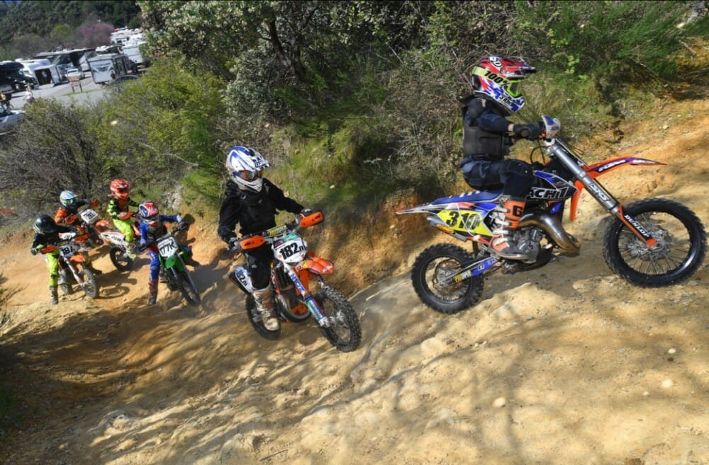 Ryder Kroll leading the pack for the steep uphill climb. Kroll finished 2nd in the Micro Mini class at the Shasta Dam Grand Prix.