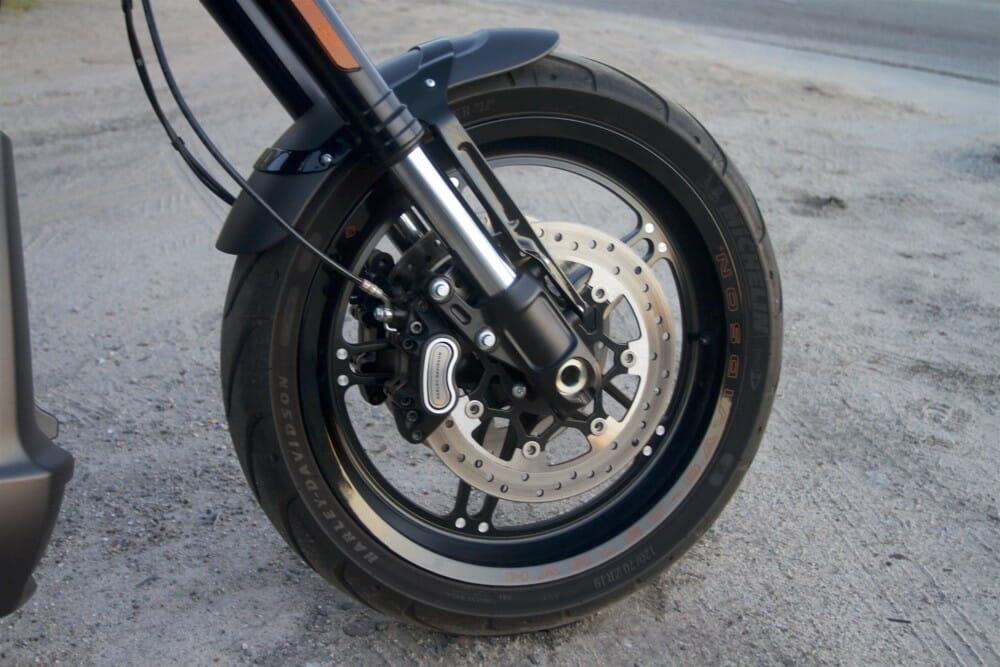 The 2019 Harley-Davidson FXDR 114 has four-piston brakes