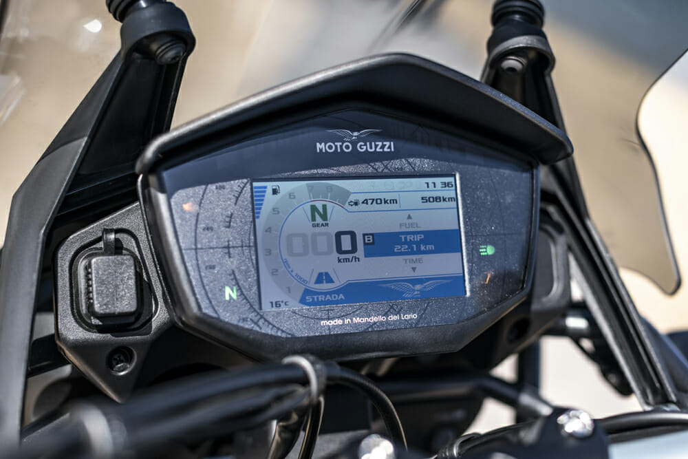 The 2019 Moto Guzzi V85TT has an all new dash.