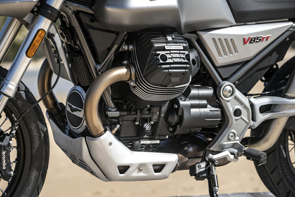 The 2019 Moto Guzzi V85TT's air/oil-cooled two-valve pushrod small-block engine measuring 84 x 77mm for 853cc, delivers 80 bhp at 7750 rpm, and peak torque of 80Nm at 5000 rpm.