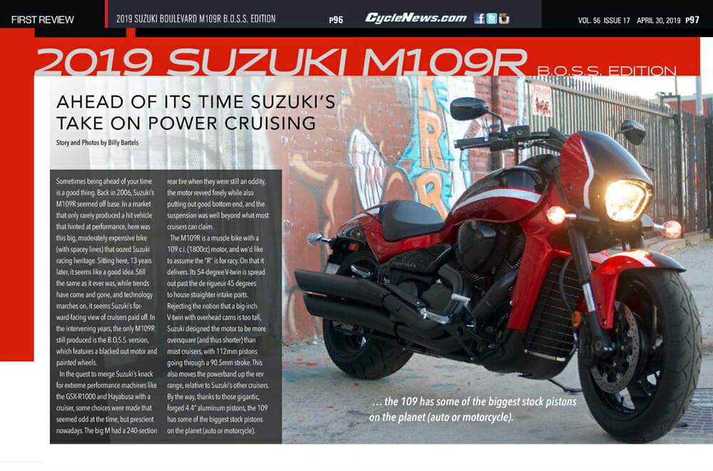2019 Suzuki M109R B.O.S.S. Edition review in Cycle News magazine.