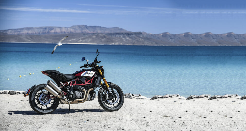 The 2019 Indian FTR 1200 on the beach at Cabo San Lucas.