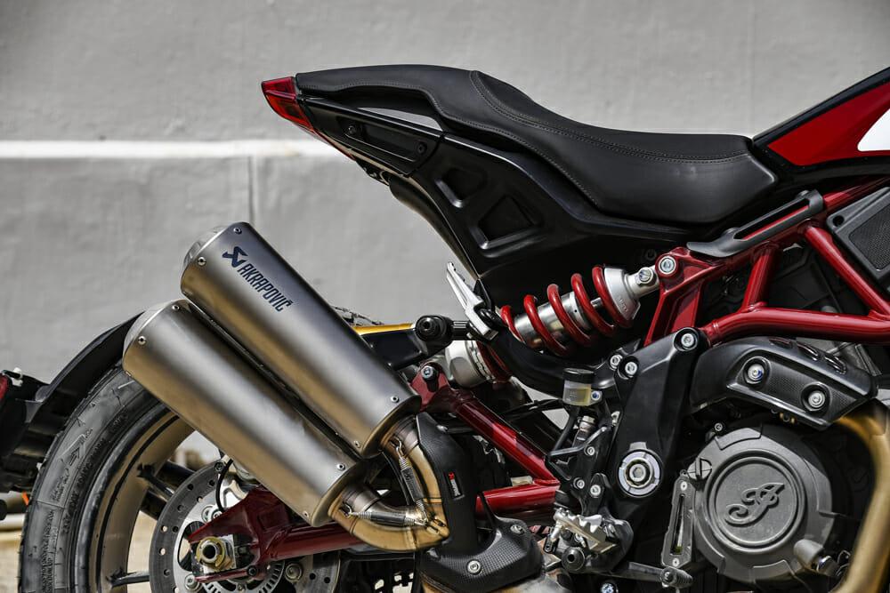 The 2019 Indian FTR 1200 has Akrapovic titanium mufflers.
