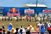 The riders appear to be slightly more staggered off the gate than usual in the second 250MX moto at round two of the 2019 Lucas Oil AMA National Motocross Championship, at Fox Raceway in Pala, California.