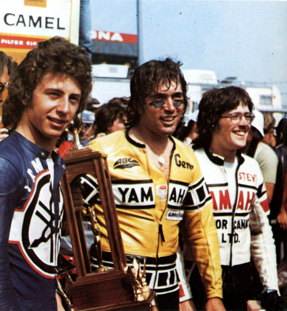 Romero (center) after winning the 1975 Daytona 200 along with third-place finisher Johnny Cecotto (left) and runner up Steve Baker.