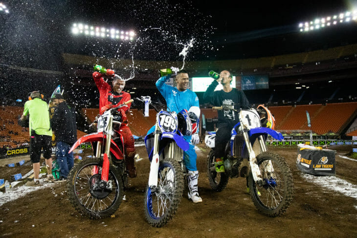 2019 Hawaiian Supercross DeSoto Cup podium finishers.
