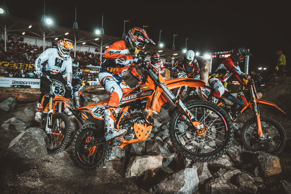 Tod Hammock and Eric Peronnard are finalizing plans to keep indoor off-road racing alive and thriving in the US. The extreme elements provide a challenge for the riders and a full night of exciting race action for the fans. Photo: Tanner Yeager