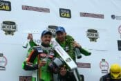 Irwin and Hillier on the North West 200 Superbike podium