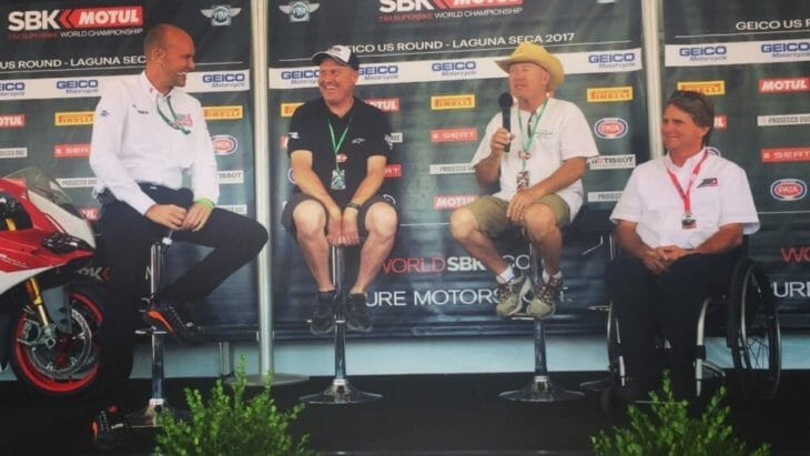 Michael Hill chats with a panel consisting of Kenny Roberts Jr., Kenny Roberts and Wayne Rainey last year at WeatherTech Raceway Laguna Seca. Hill will host MotoAmerica Live+ streaming from three events in 2019.