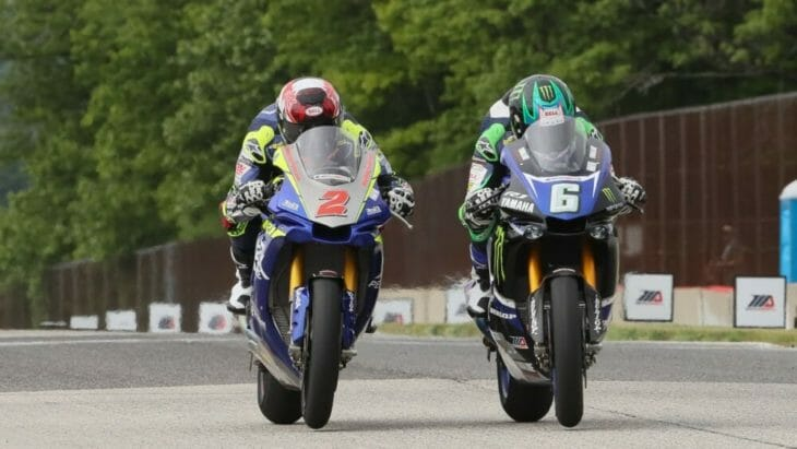 You won't find closer finishes to MotoAmerica Superbike races than what you get at Road America. Last year, Cameron Beaubier (6) beat Josh Herrin (2) to the line by just .002 of a second in race one and by just .195 of a second in race two.   Photo by Brian J. Nelson