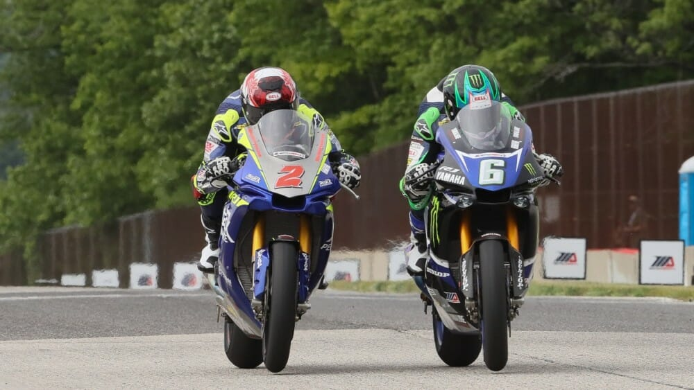You won't find closer finishes to MotoAmerica Superbike races than what you get at Road America. Last year, Cameron Beaubier (6) beat Josh Herrin (2) to the line by just .002 of a second in race one and by just .195 of a second in race two. | Photo by Brian J. Nelson