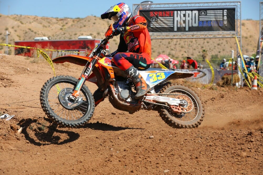 FMF KTM Factory Racing's Taylor Robert extended his win-streak to three in a row at Mesquite MX at 2019 Sprint Hero Racing Series