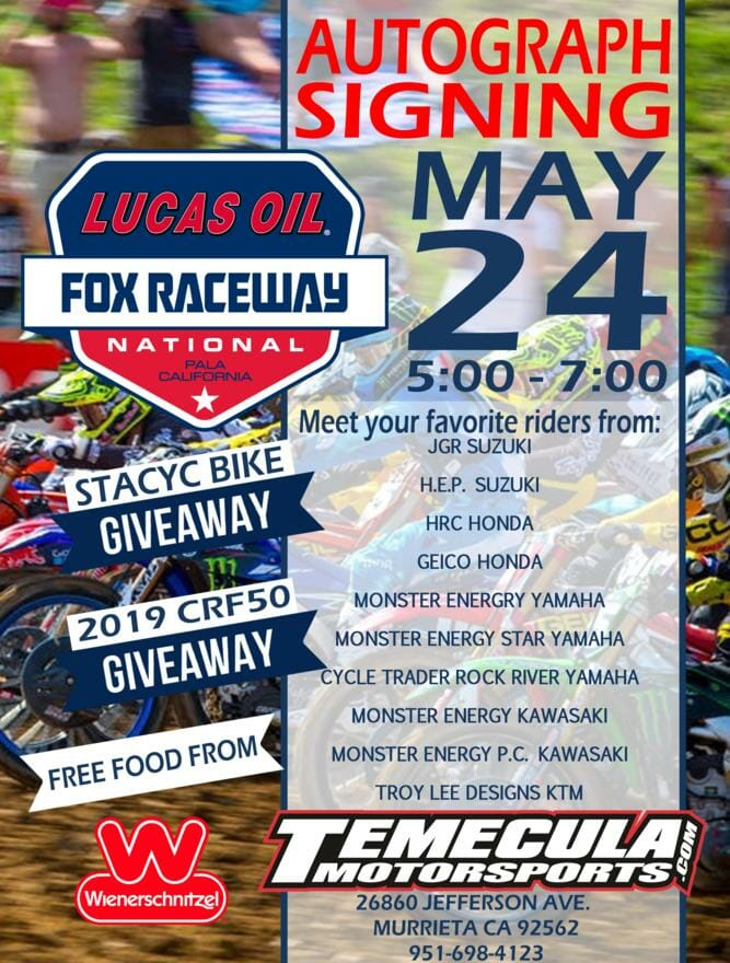 Autograph signing to be held at Temecula Motorsports