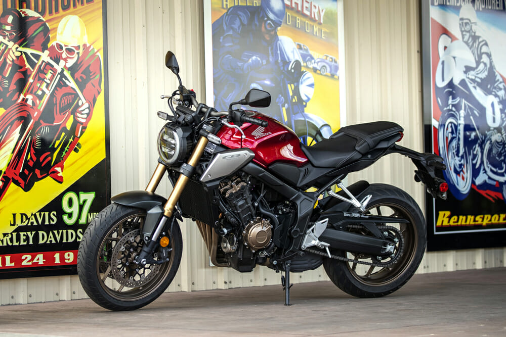 This 2019 Honda CB650R is a really cute little bike—the bronze wheels look great in the metal.