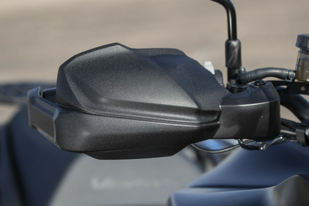 Handguards are standard fitment on the 2019 Kawasaki Versys 1000 SE LT+.