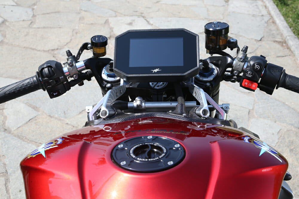 The dash on the 2020 MV Agusta Brutale 1000 Prototype is substantially improved compared to MV's of old.