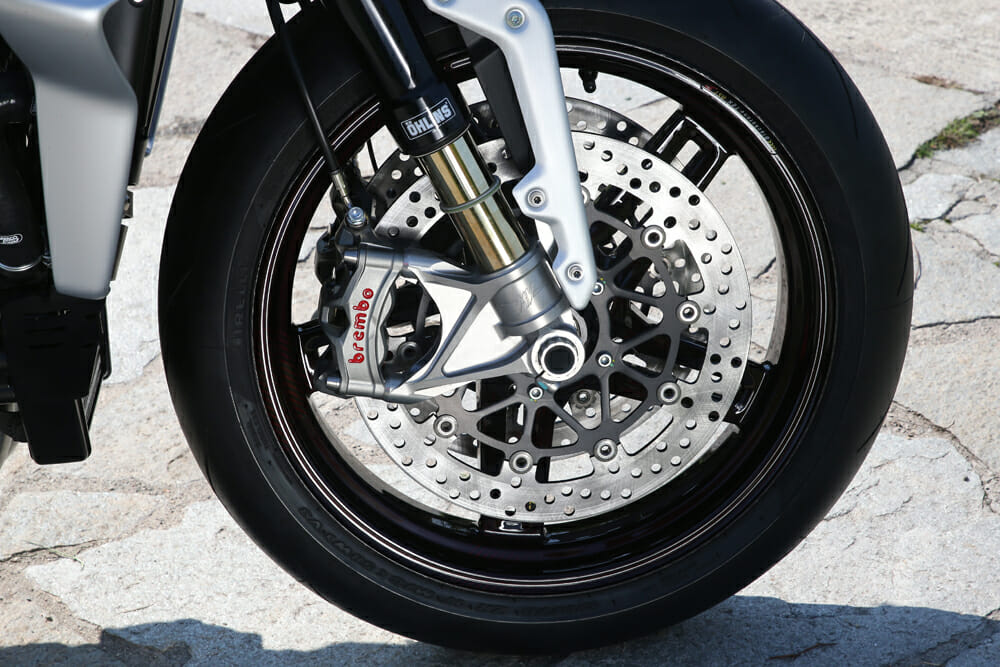 Brembo has fitted their latest Stylema calipers in the same fashion as the Ducati Panigale V4 R and the Aprilia RSV4 1100 Factory.