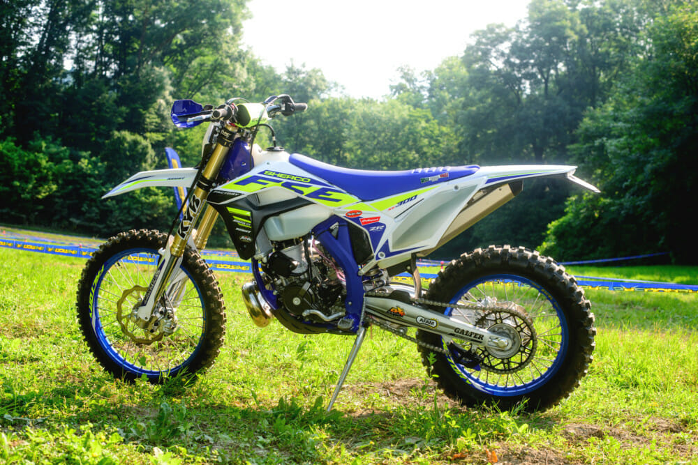 This is Sherco's premier off-road race bike—the SE300 Factory. It's easy to ride and ready to take on anything.