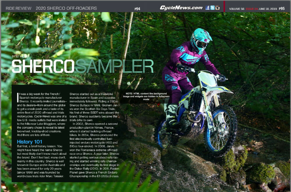 Sherco recently invited journalists—and its dealers—from around the globe to get a sneak peek and a taste of its entire fleet of 2020 off-road and trials motorcycles.