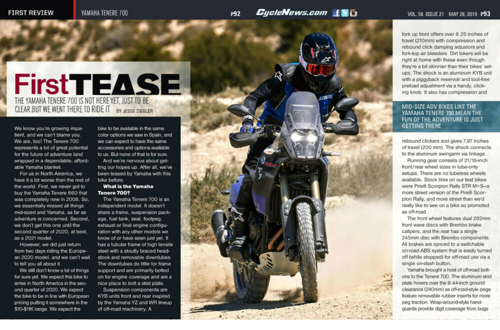Cycle News Yamaha Tenere 700 review