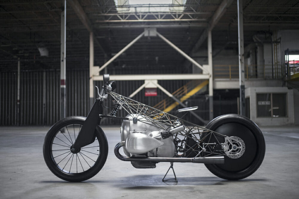 Revival Cycles were one of the few to be commissioned to build a custom based off the new motor, and the result is the stunning Birdcage design that debuted at The Handbuilt Show during MotoGP at Austin this year.