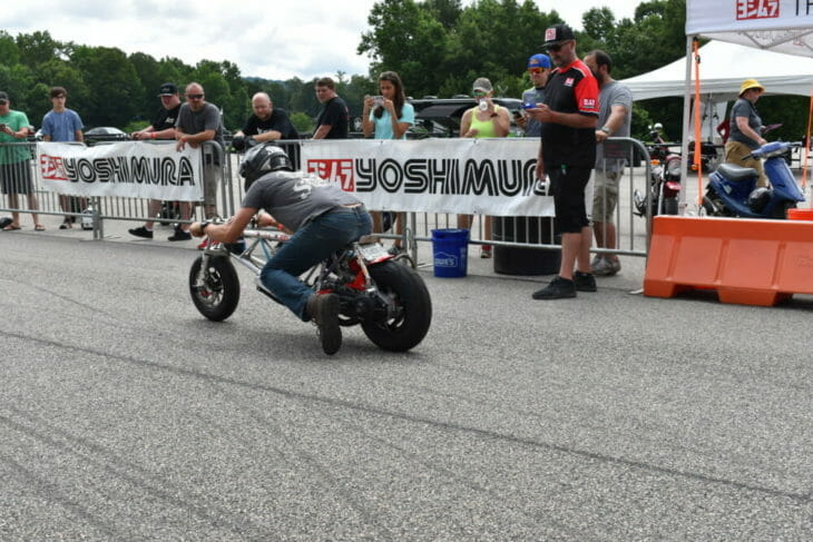 A bike takes off on the Yoshimura drag strip at the 2019 Barber Small Bore event.