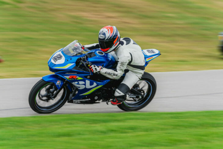 Yuasaku Yoshimura riding a Suzuki GSX-R150 at the 2019 Barber Small Bore event.