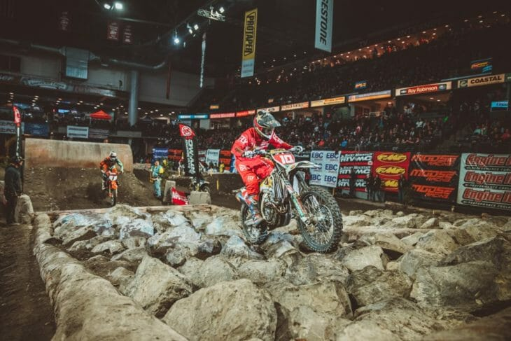 Colton Haaker competing in the 2018 AMA EnduroCross event in Everett Washington