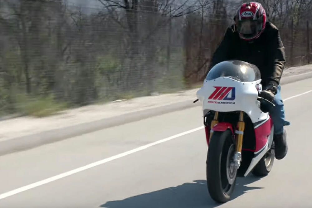 Three-time World Champion Wayne Rainey let's Jay drive his Yamaha TZ750 inspired race motorcycle.