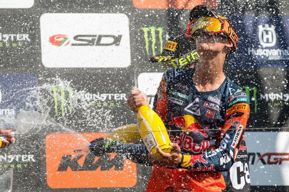 Jorge Prado celebrates at 2019 Teutschenthal MXGP