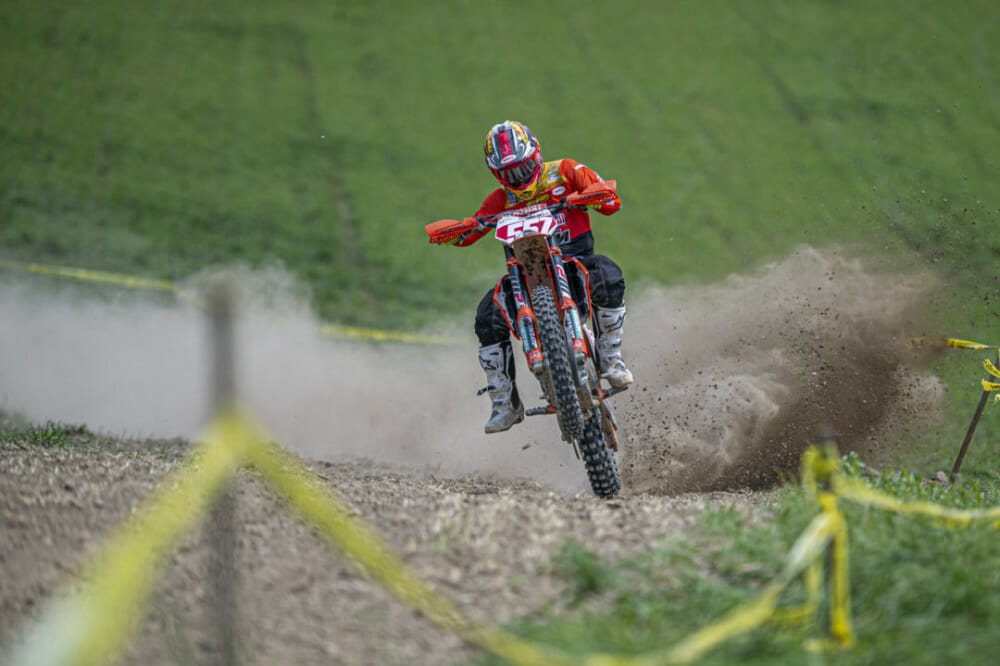 Kailub Russell goes full gas on the cross test on his way to his 4th overall win of the season. // Photo: Darrin Chapman