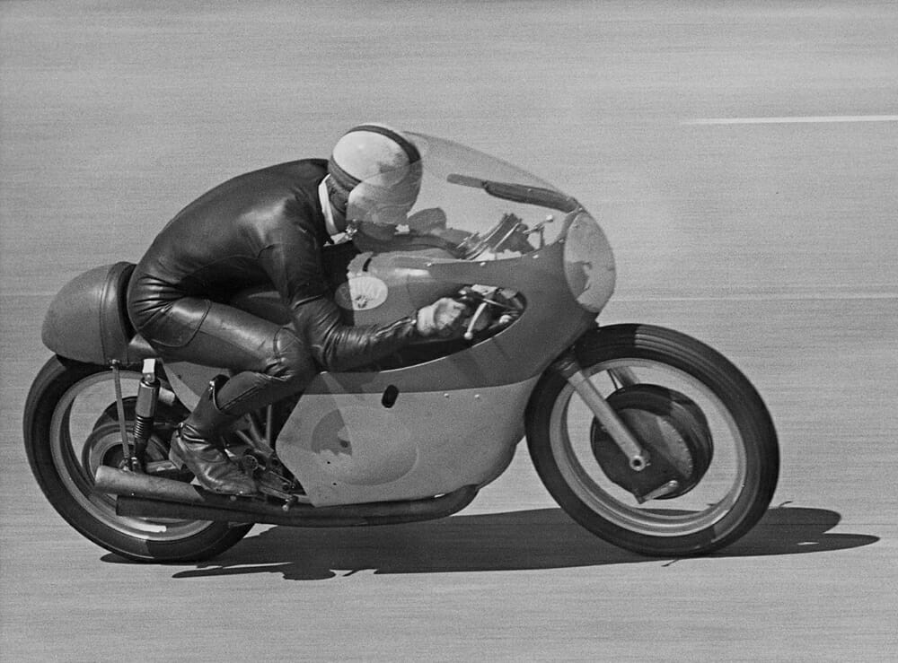 """Mike """"The Bike"""" Hailwood on the MV Agusta 500 in the early 1960s. The thinking on motorcycle design hasn't changed much since then."""