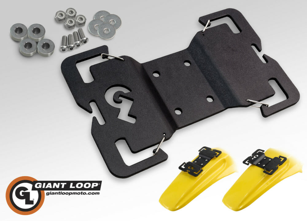 Giant Loop Tail Rack Bolts to Rear Plastic Motorcycle Fenders, Creating Secure Anchor Points for Saddlebags and Gear