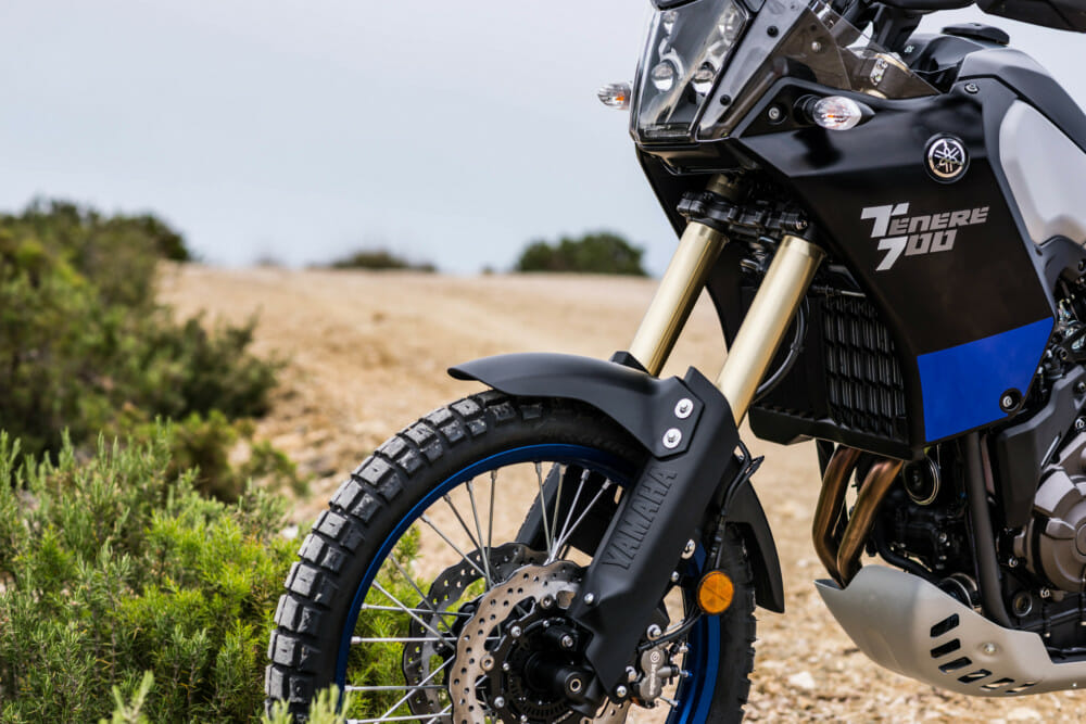 KYB components handle suspension duties for the Yamaha Tenere 700. Forks are fully adjustable.