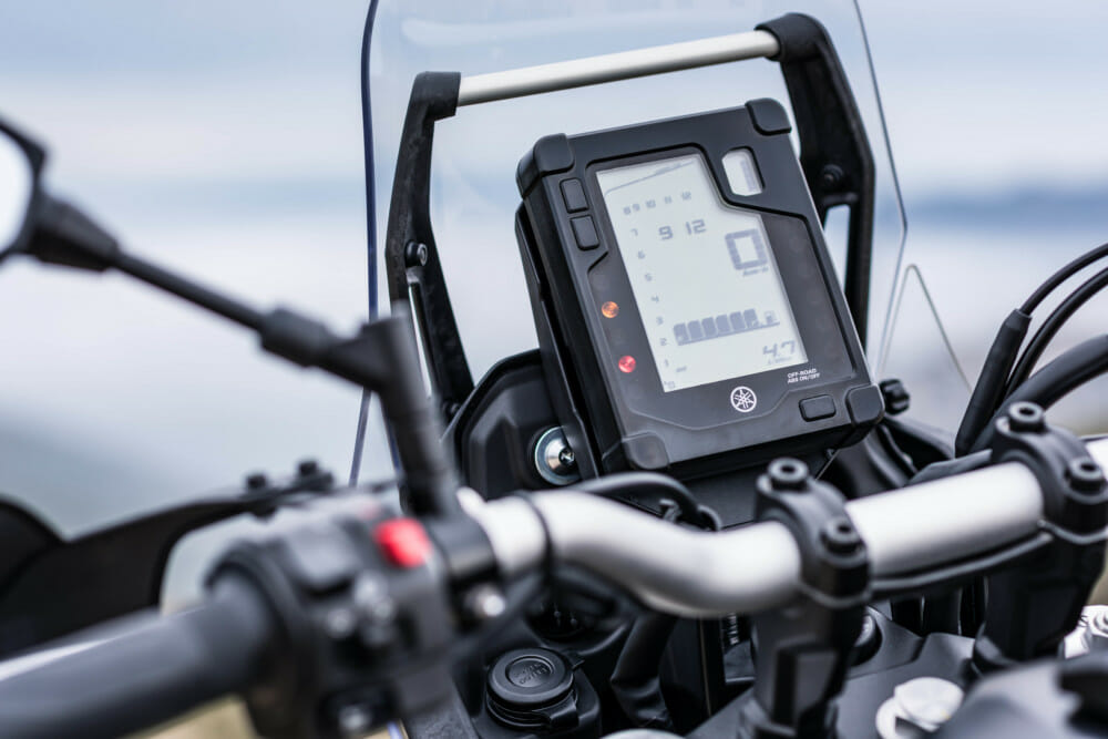 The dash on the Yamaha Tenere 700 has the basics