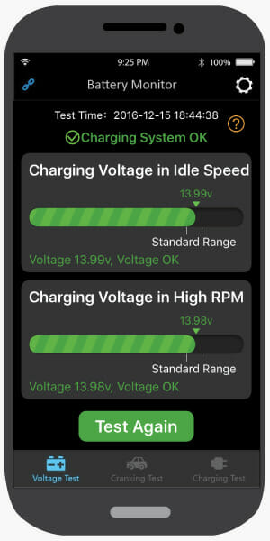 The Charge Test allows you to see if your Alternator is charging the battery and working correctly.