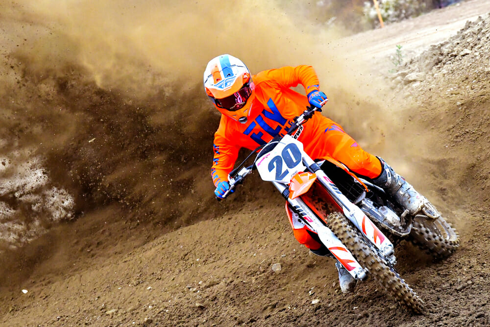 Blowing up berms is a no-brainer on the 2020 KTM 450 SX-F.