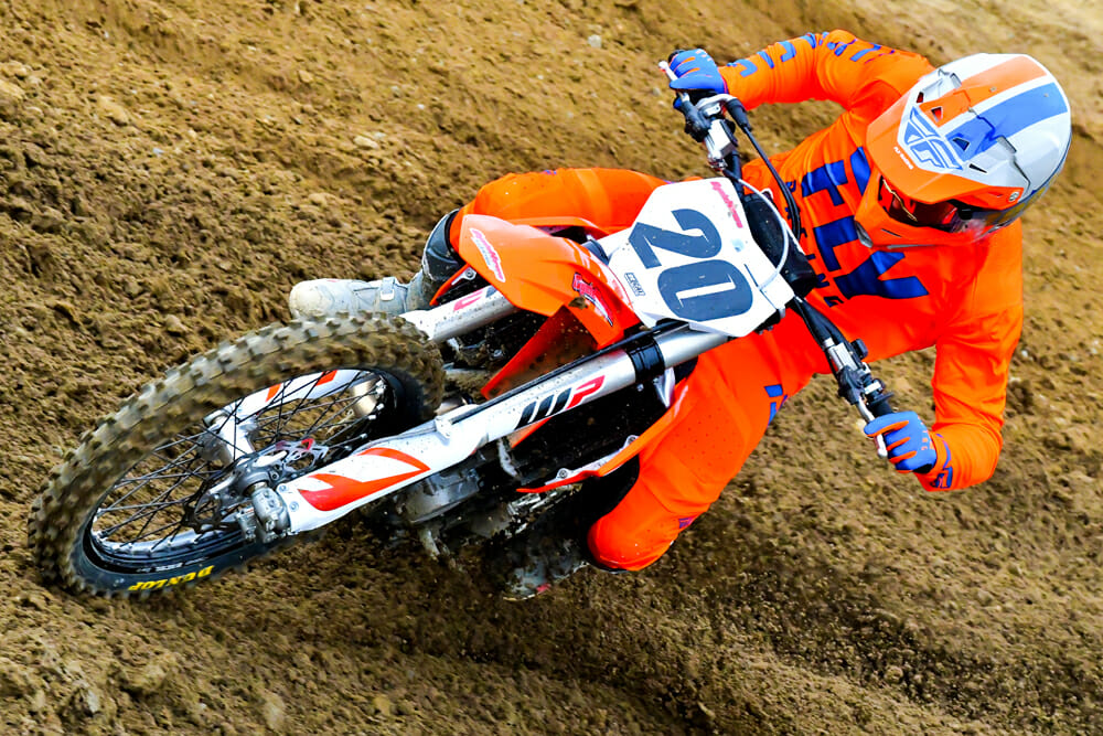 """You feel the difference between the two mapping options available on the 2020 KTM 450 SX-F. Even """"aggressive"""" is manageable."""