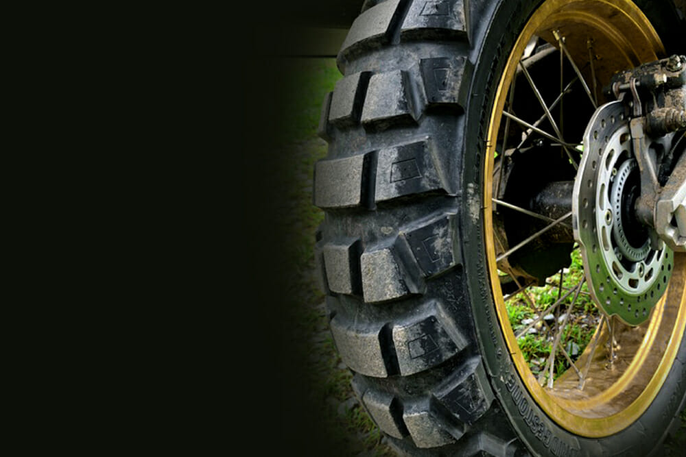 The Bridgestone Battlax Adventurecross AX41 tires are aggressive 40-60 on/off DOT-approved knobbies with excellent on-road manners.
