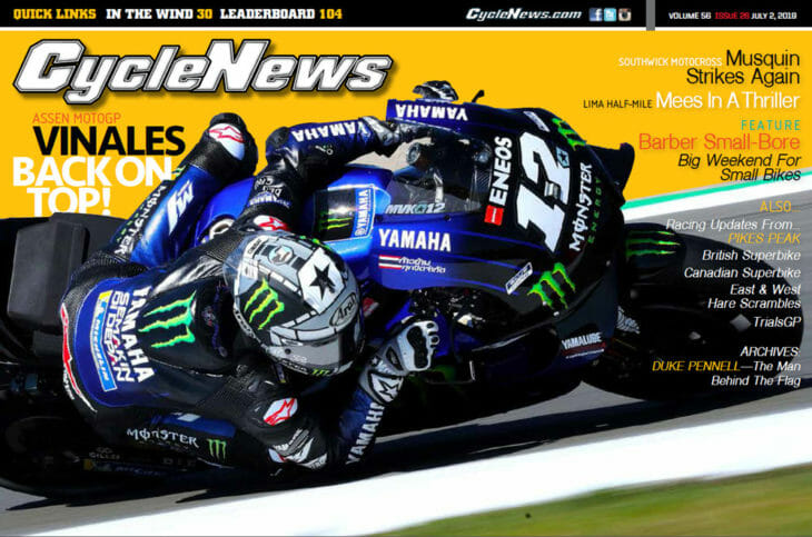 Cycle News magazine 2019 Issue 26 cover with Maverick Vinales racing MotoGP at Assen