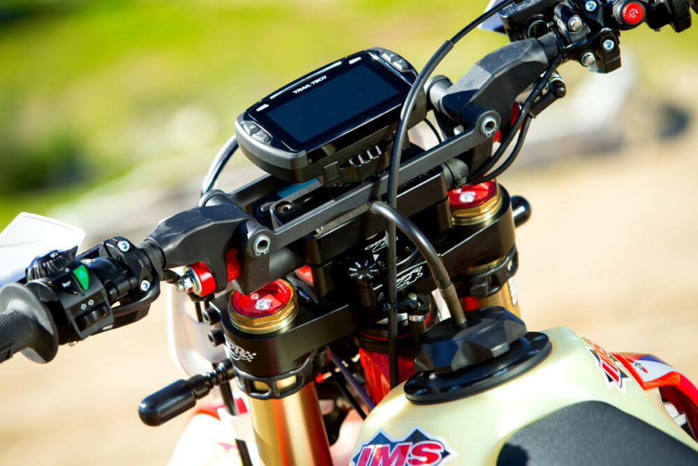 The addition of Flexx Bars brings a weight handicap, but a comfort benefit. GPR top triple clamp and stabilizer are on-board. The Voyager Pro GPS unit from Trail Tech give vehicle diagnostics as well as a fully functional GPS.