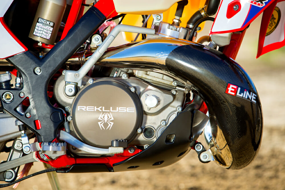 A lightly modified engine looks to get the full potential out of the GasGas two-stroke.