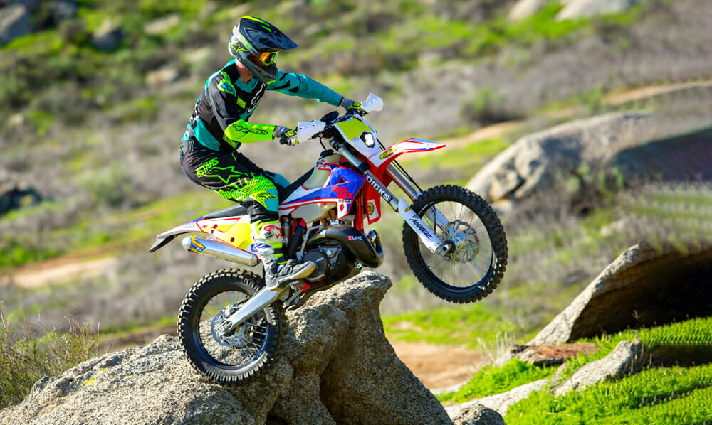 GasGas' enduro bikes are more than capable at technical obstacles. We like the stock versions just fine, but adding MotOz Mountain Hybrid Gummy tires makes it a rock crawler.