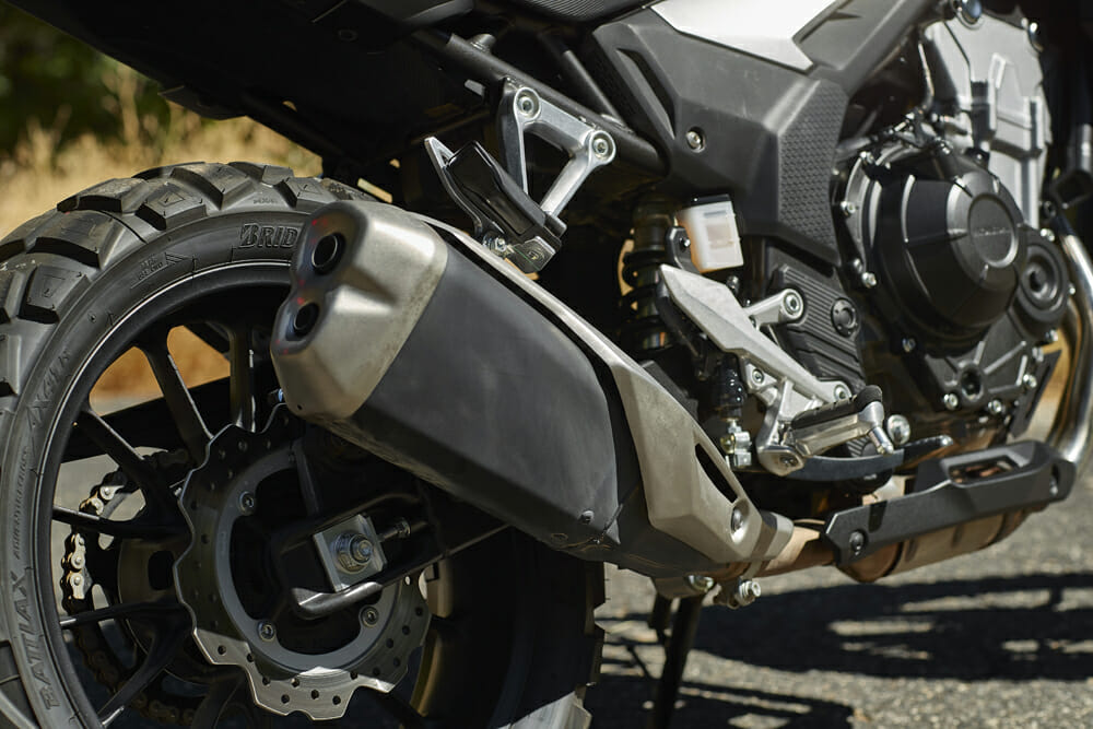 The 2019 Honda CB500X gets a slightly reworked exhaust.