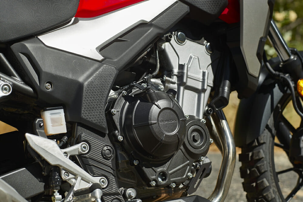 The 2019 Honda CB500X has a 471cc twin engine.