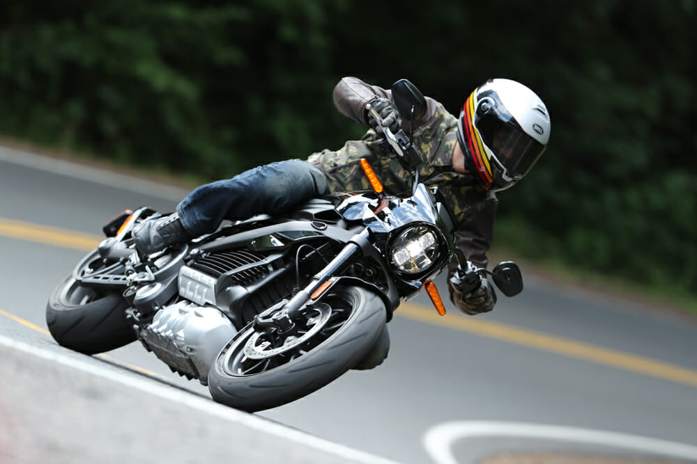 Despite the weight, it's surprising how hard you can hustle the 2020 Harley-Davidson LiveWire