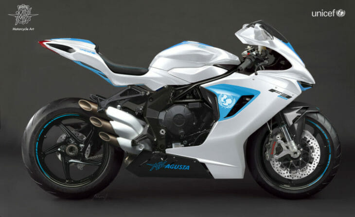 Racetrack-derived F3 800 donated by MV Agusta to UNICEF for charity auction