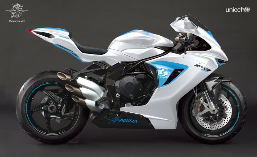 Racetrack-derived F3 800 donated by MV Agusta to UNICEF for UNICEF charity auction