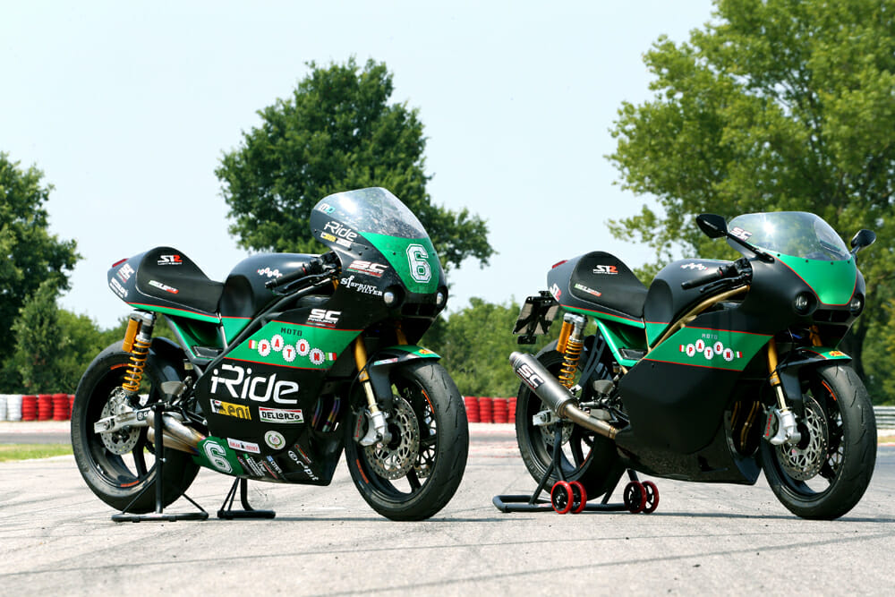 Dunlop's racer (left) stands side-by-side with its production cousin.