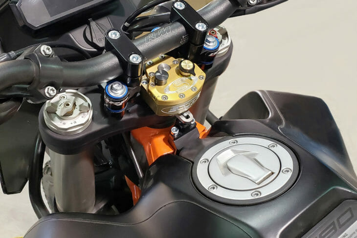 Scotts Performance has steering stabilizer kits to fit 2019-20 KTM 790 Adventure and 790 Adventure R models.